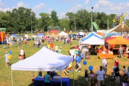 A view of booths at the festival
